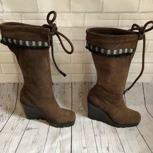 Diane von Furstenberg suede Platform wedge boots